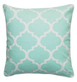 Mint-coloured Quatrefoil Cushion Cover