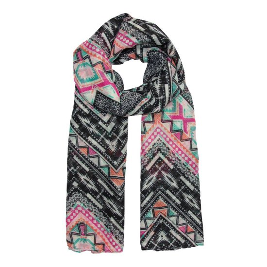 Zigzag Scarf with Colourful Patterns