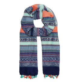 Lusia Scarf with Turquoise and Peach-Coloured Tassels
