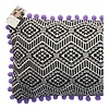 Embroidered Zigzag Cushion Cover with Purple Pom Poms