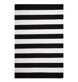 Recycelter schwarz-weiß gestreifter Teppich Nantucket