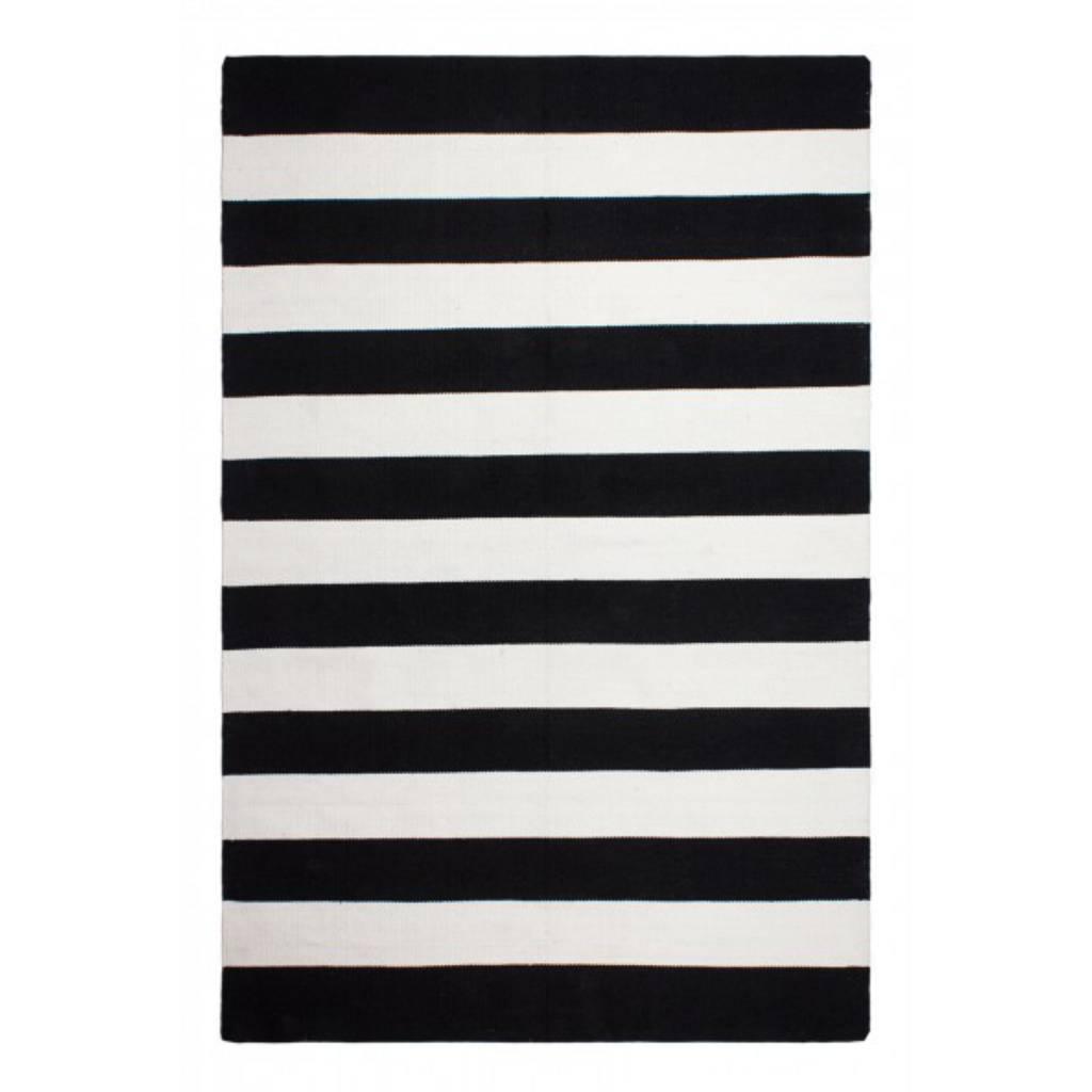recycled black  white striped rug nantucket  bersama -