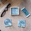 Blue Mosaic Coasters, Set of 4