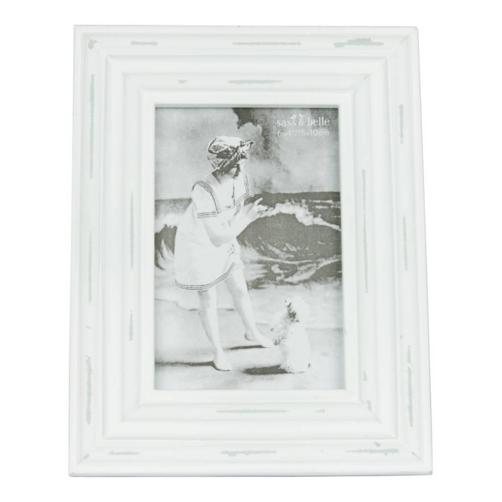 Shabby Chic Bilderrahmen in weiß, 10x15cm - Bersama