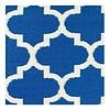 Recycelter blau-weißer quatrefoil Teppich Tangier