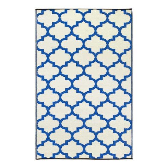 recycelter blau wei er quatrefoil teppich tangier bersama. Black Bedroom Furniture Sets. Home Design Ideas