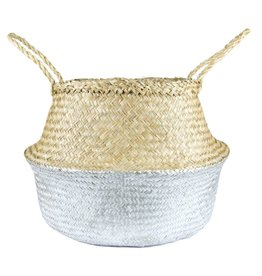 Silver Dipped Seagrass Belly Basket