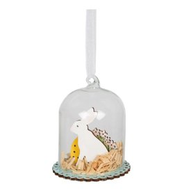 Easter Bunny Glass Dome Hanging Decoration