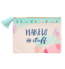 Cosmetic Bag 'Makeup & Stuff' with Pom Poms