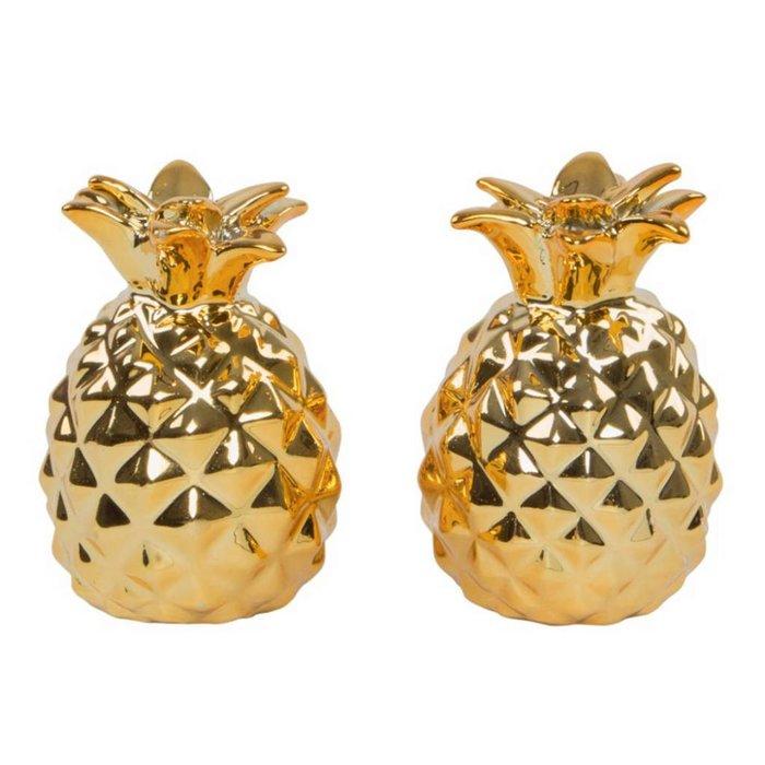 Goldenes Ananas Salz- & Pfefferstreuer Set