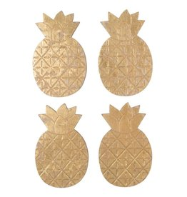 Gold Pineapple Coasters, Set of 4