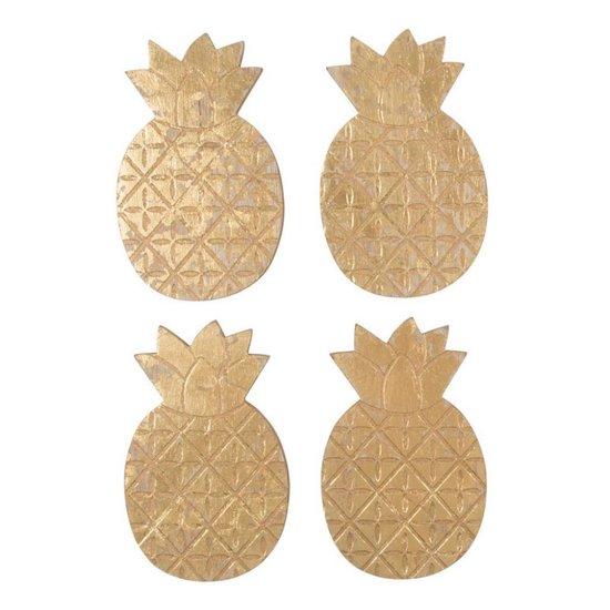 Goldene Ananas Untersetzer, 4er Set