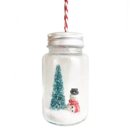 Weihnachtskugel Schneemann im Glas