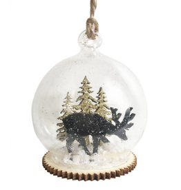 Black & Gold Snowy Winter Forest Dome Bauble