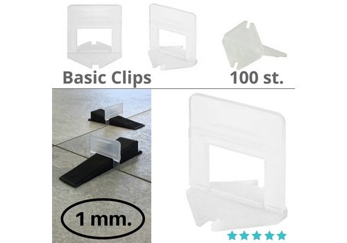 Levlr. 1 mm. Levelling clips Basic 100 st.