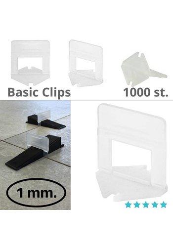 Levlr. 1 mm. Basic clips 1000 st.