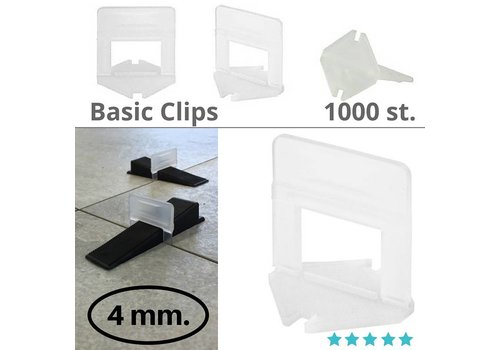 Levlr. 4 mm. Levelling clips Basic 1000 st.