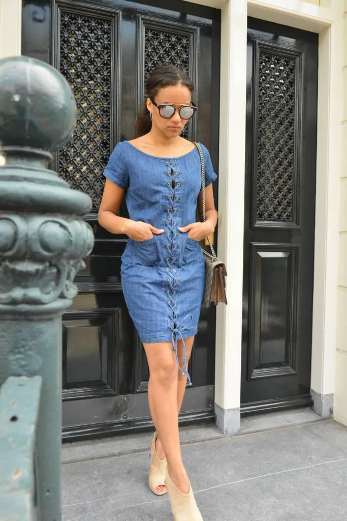 Rachel Moore Denim lace up dress
