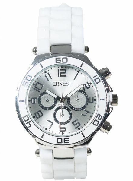 Ernest Horloge rubber zilver wit