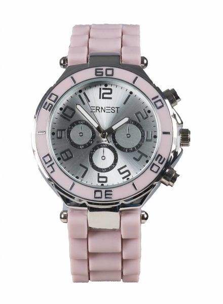 Ernest Horloge rubber zilver oudroze