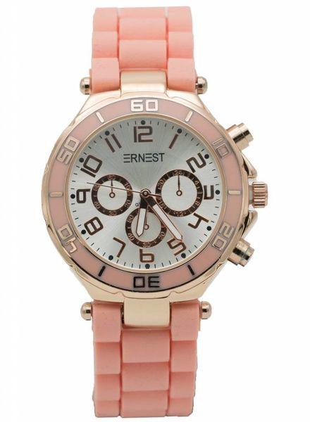 Ernest Horloge rubber rosé zalm