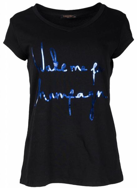 Gemma Ricceri Shirt wake me zwart/kobalt