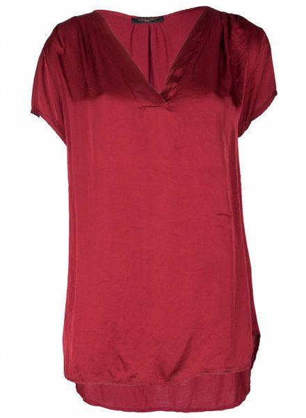 Gemma Ricceri Shirt silk touch v hals bordeaux One size