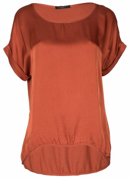 Gemma Ricceri Shirt silk touch roest bruin