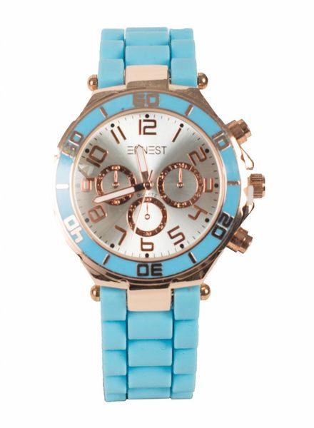 Ernest Horloge rubber rosé lichtblauw