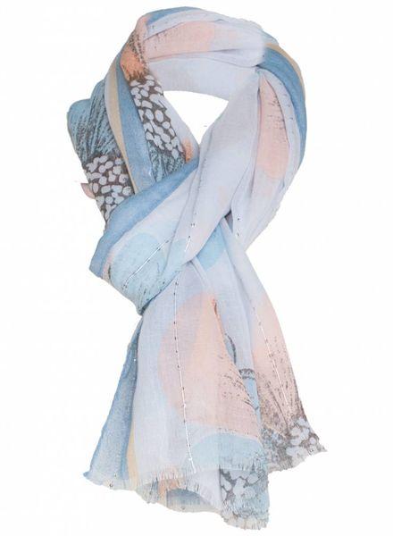 Sjaal Madelief blauw/zalm