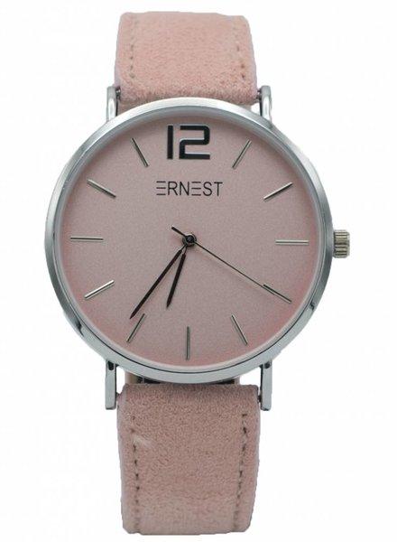Ernest Horloge Suedine roze