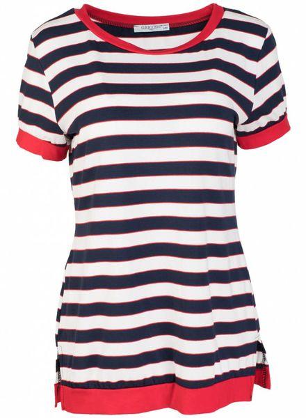 Gemma Ricceri Shirt streep blauw/rood