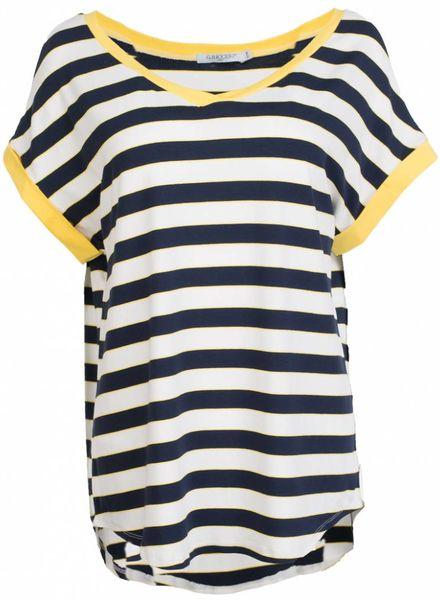 Gemma Ricceri Shirt streep V hals geel/blauw