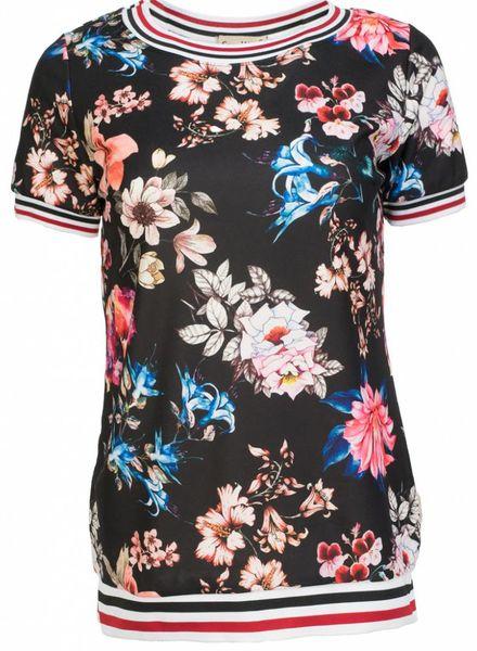 Shirt bloem zwart