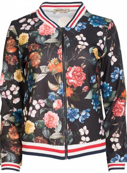 Bomber Jacket bloem zwart