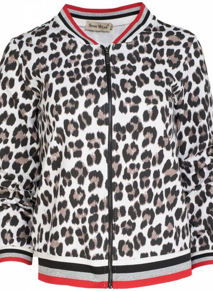 Bomberjacket panterprint wit
