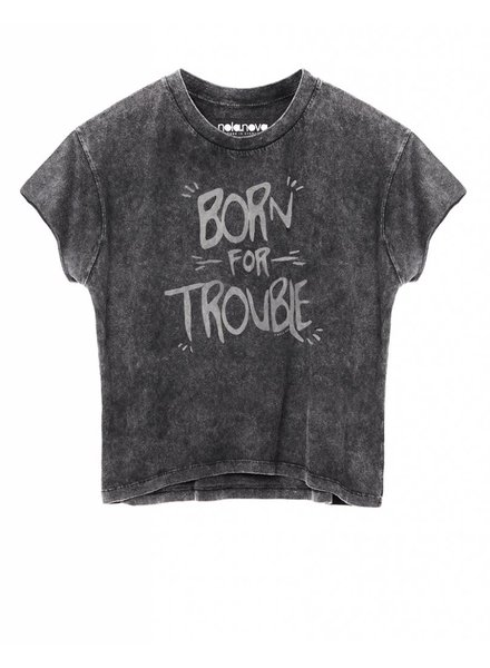 Cropped T-shirt Born for Trouble