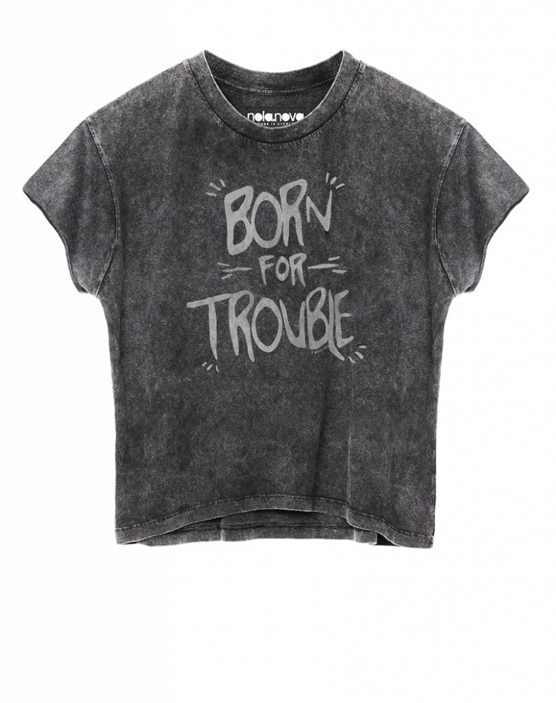 Crop T-shirt Born for Trouble
