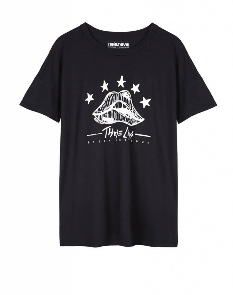 T-shirt These Lips Zwart