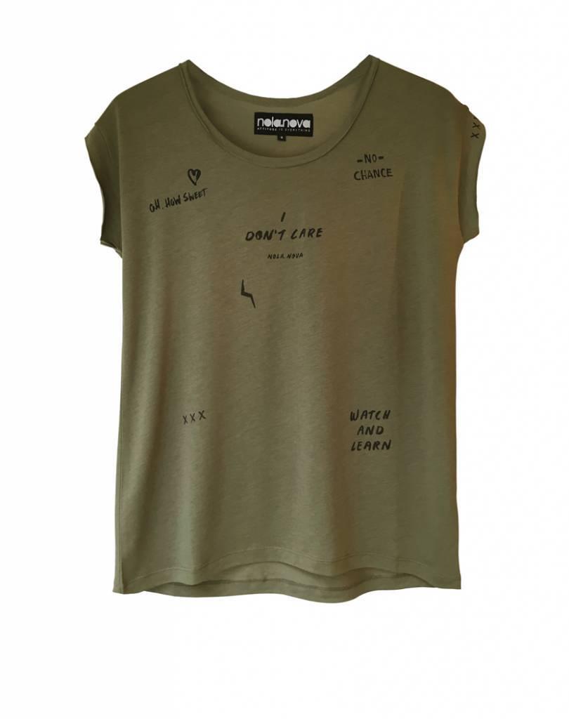 Kaki T-shirt I don't Care