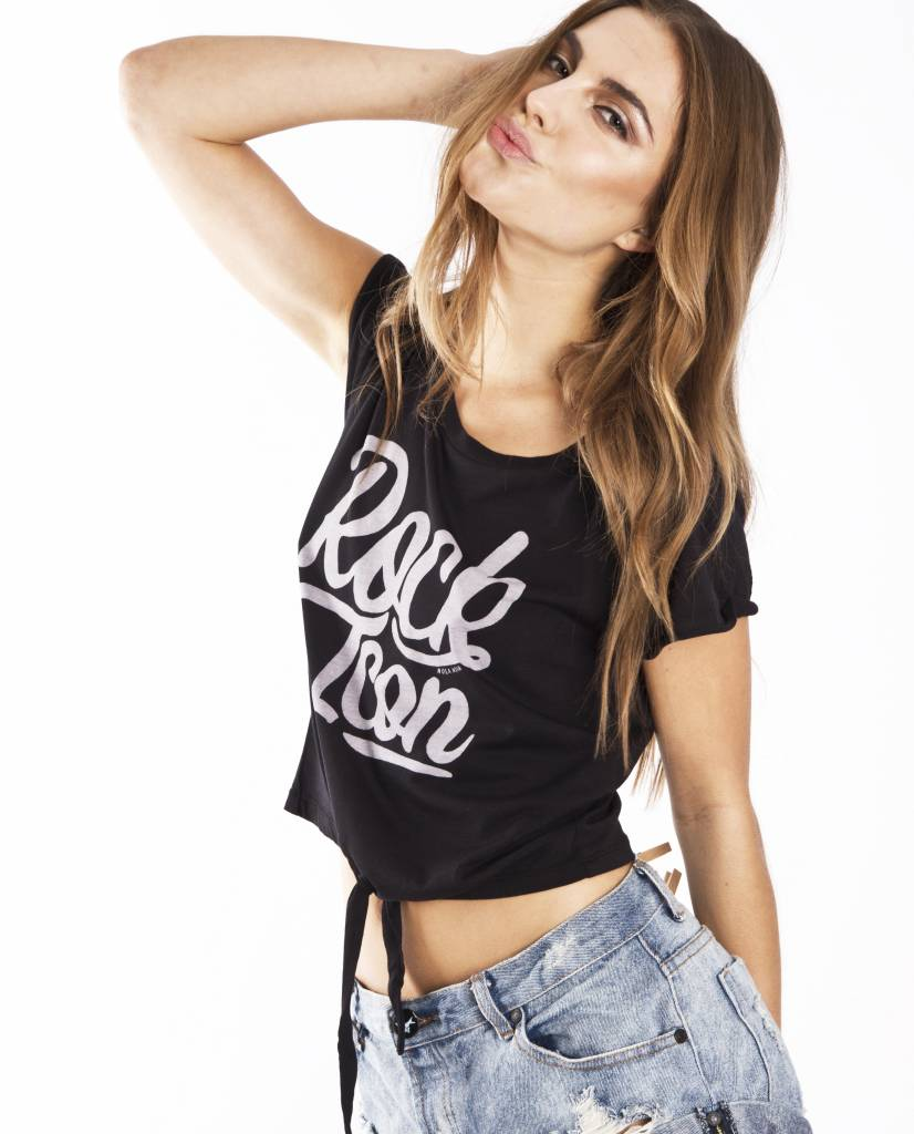 Cropped T-shirt Rock Icon Zwart