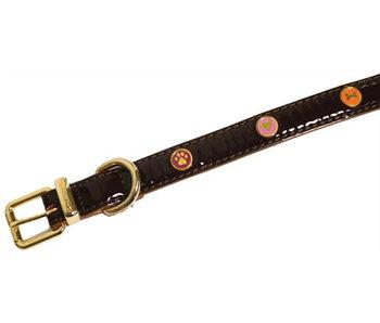 Wag 'n' walk halsband hond oxblood bruin met studs