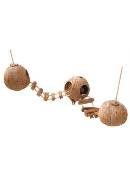 Ebi kokosnoot huisjes met ladder en kooibevestiging
