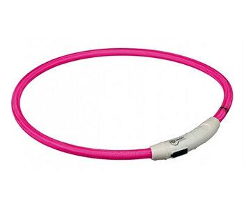 Trixie halsband flash light lichtgevend usb oplaadbaar roze