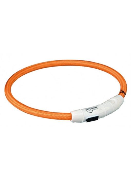 Trixie halsband flash light lichtgevend usb oplaadbaar oranje