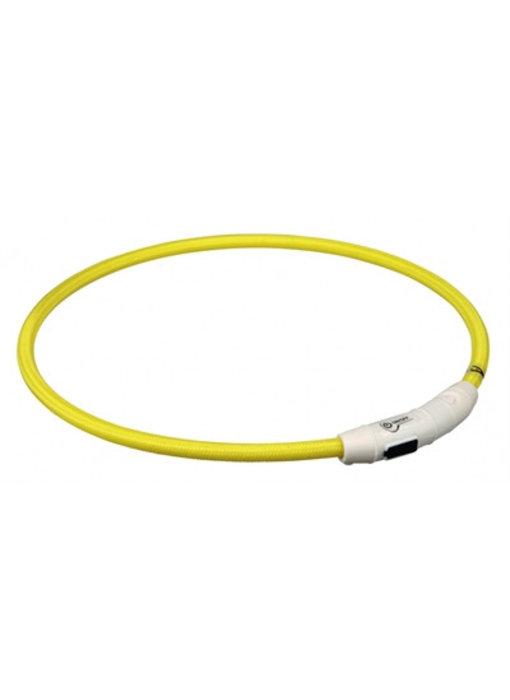 Trixie halsband flash light lichtgevend usb oplaadbaar geel