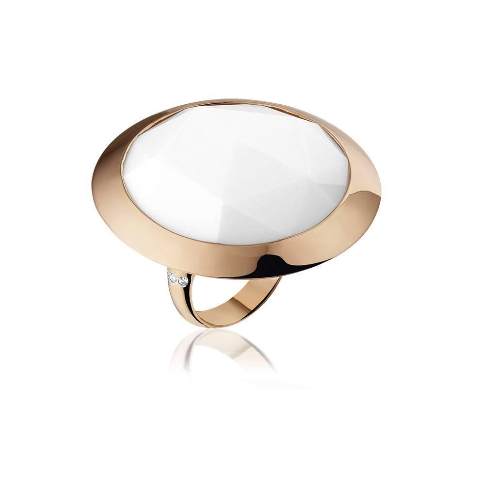 Casato Casato 18 kt. roségouden ring met diamant en een gefacetteerde witte opaal