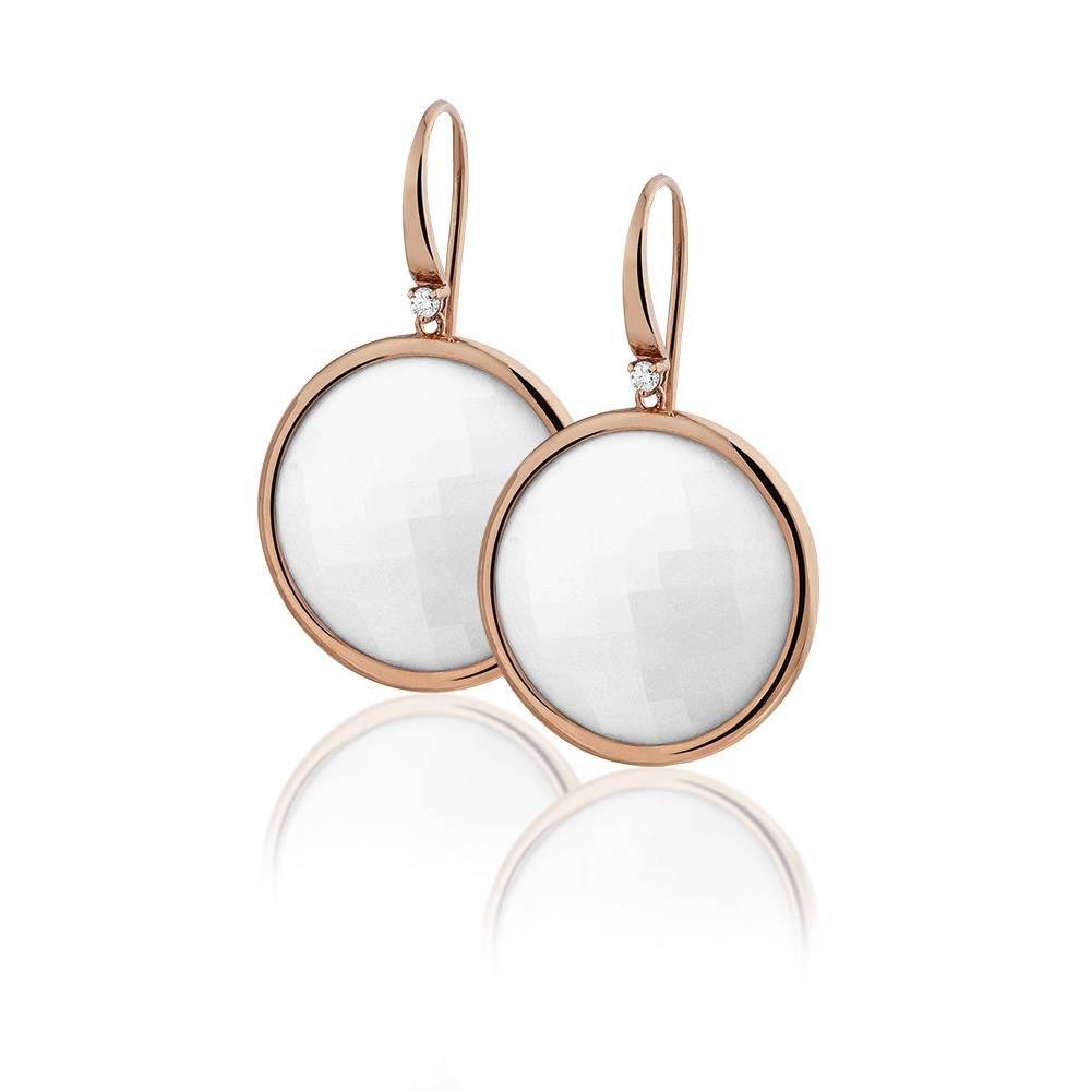Casato Casato 18 kt.roségouden oorhangers met diamant en gefacetteerde opaal