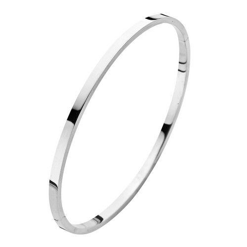 Fjory Fjory 14 kt. witgouden armband met zilveren kern 3 mm. vierkant