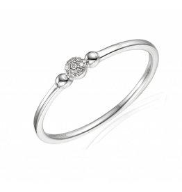 Private Label CvdK Rozet ring 14 kt. witgoud met diamant